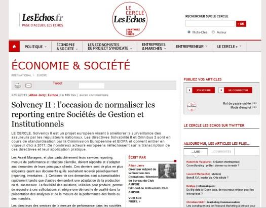Le cercle les echos - par Alban Jarry - Solvency II : l occasion de normaliser les reporting entre Societes de Gestion et Institutionnels