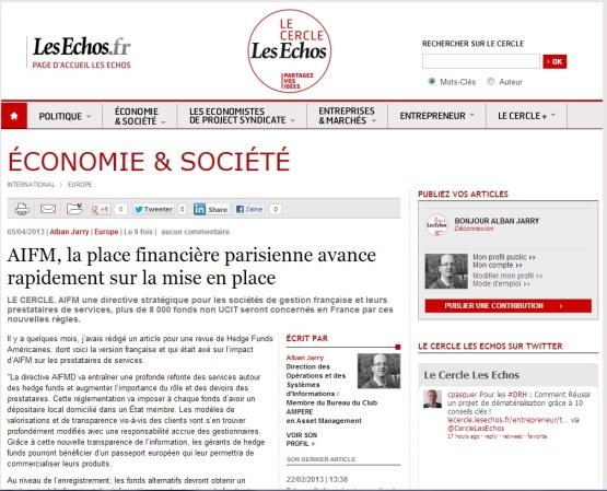 Directive AIFM, la place financière parisienne avance rapidement sur la mise en place - article pour Le Cercle Les Echos