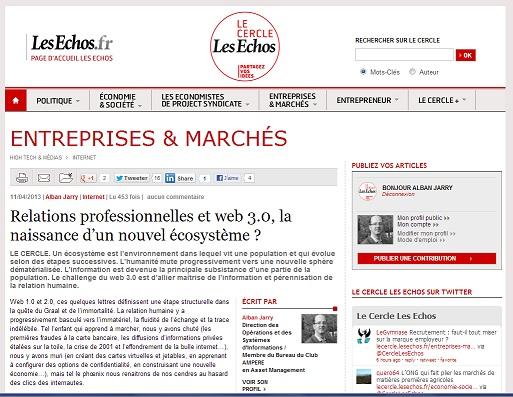 Relations professionnelles et web 3.0, la naissance d'un nouvel écosystème ? - article pour Le Cercle Les Echos