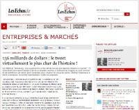 Le Cercle Les Echos _ 136 milliards de dollars le tweet virtuellement le plus cher de l'histoire_par alban jarry