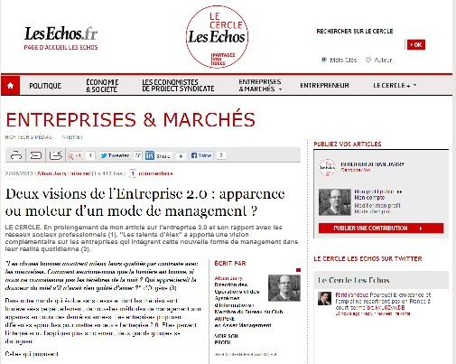 Deux visions de l'Entreprise 2.0 : apparence ou moteur d'un mode de management ?