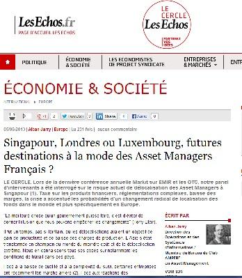 Singapour, Londres ou Luxembourg, futures destinations à la mode des Asset Managers Français ?