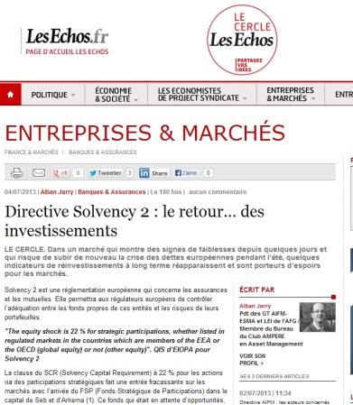 Directive Solvency 2 : le retour… des investissements