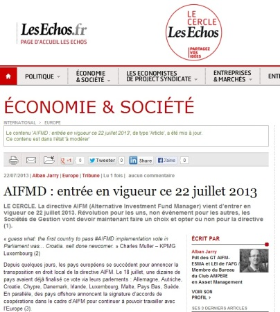 AIFMD : entrée en vigueur ce 22 juillet 2013