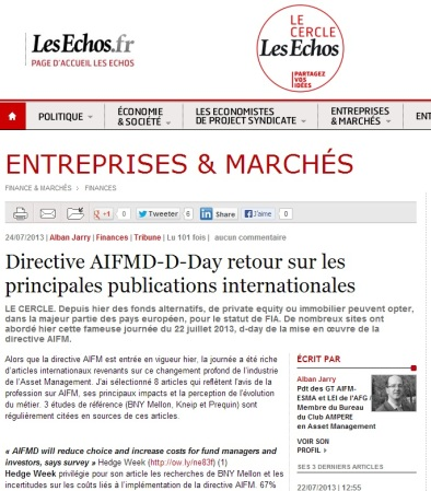 Directive AIFMD-D-Day retour sur les principales publications internationales