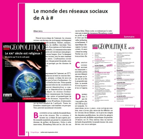 Le monde des réseaux sociaux de A à # (article pour La Nouvelle Revue de Géopolitique n°122 juillet 2013)