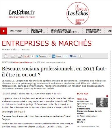 Réseaux sociaux professionnels, en 2013 faut-il être in ou out ?
