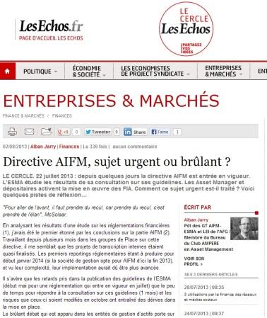 AIFMD, un état des lieux sur la mise en place de la Directive