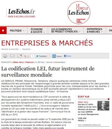 La codification LEI, futur instrument de surveillance mondiale