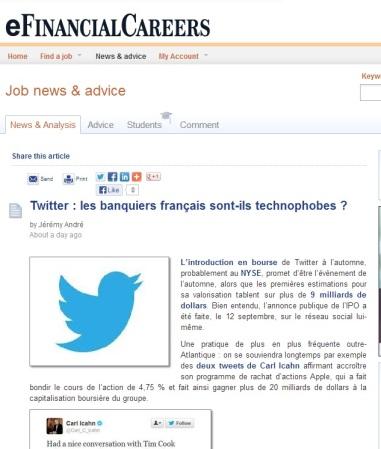 Twitter : les banquiers français sont-ils technophobes ? (par Jérémy André pour eFinancialCareers)
