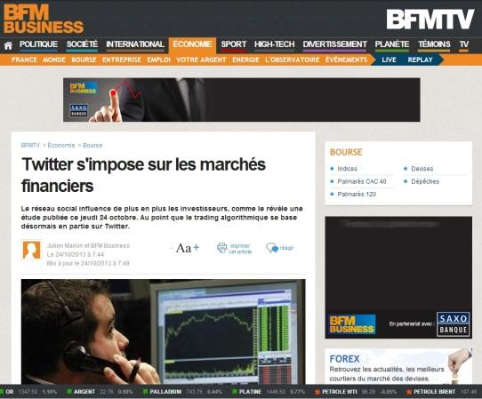 Twitter s'impose sur les marchés financiers