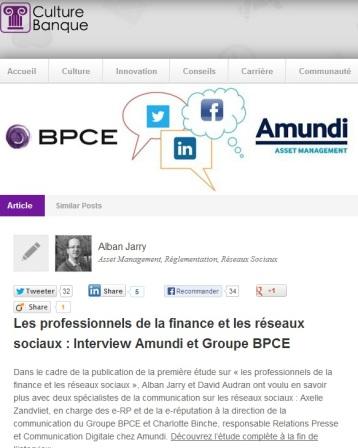Les professionnels de la finance et les réseaux sociaux : Interview Amundi et Groupe BPCE