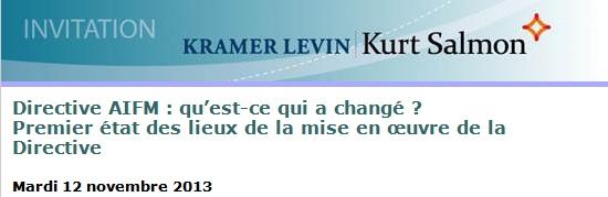 Conférence Kramer Levin / Kurt Salmon - Directive AIFM