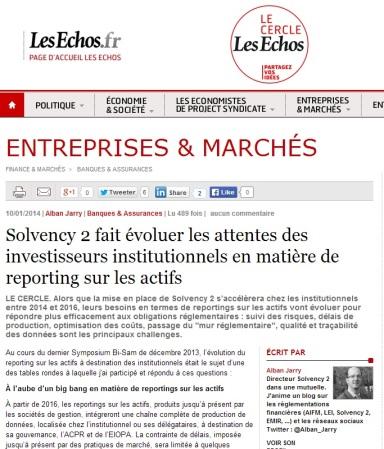 Solvency 2 fait évoluer les attentes des investisseurs institutionnels en matière de reporting sur les actifs - par Alban Jarry