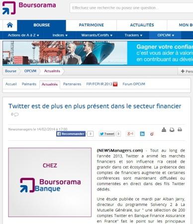 Twitter est de plus en plus présent dans le secteur financier (news Boursorama)