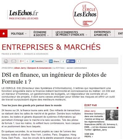 DSI en finance, un ingénieur de pilotes de Formule 1 ? par alban jarry