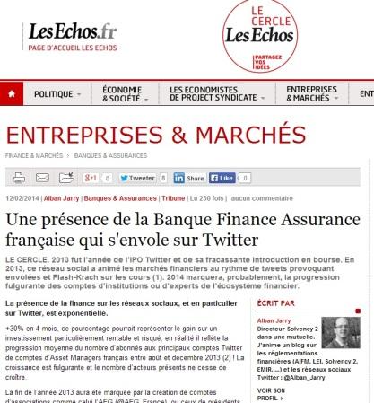 Une présence de la Banque Finance Assurance française qui s'envole sur Twitter (article pour Le Cercle Les Echos)