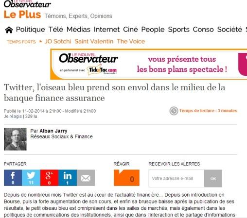 #Twitter, l'oiseau bleu prend son envol dans le milieu de la #banque #finance #assurance (article pour @leplus_obs) par alban jarry