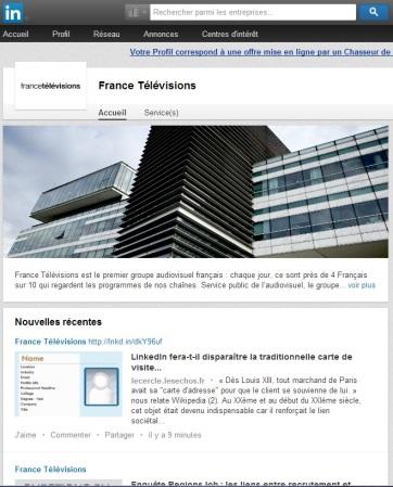 France Television : publication de l'article LinkedIn fera-t-il disparaître la traditionnelle carte de visite cartonnée ?
