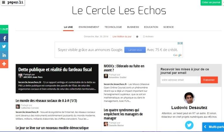 Un lien vers l'édition du Le Cercle Les Echos du 30 mars 2014 sur Paper.li (par Ludovic Desautez @desautez)