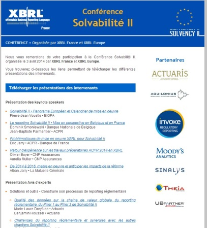 Conférence @XBRLFrance sur #Solvency2 : documents