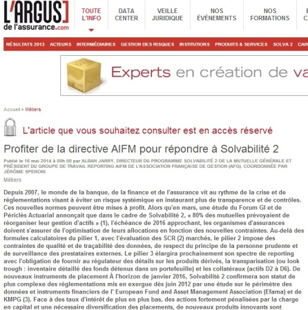 Profiter de la directive AIFM pour répondre à Solvabilité 2 par alban jarry