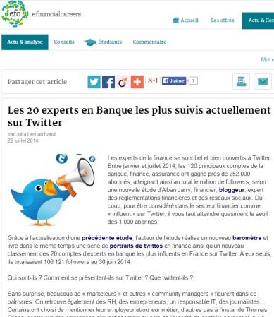 Les 20 experts en Banque les plus suivis sur Twitter par @JuliaLemarchand @efc_fr