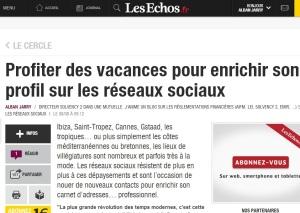 Profiter des vacances pour enrichir son profil sur les réseaux sociaux (Le Cercle Les Echos) par alban jarry
