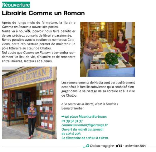 Réouverture de la #librairie Comme un Roman à Chatou